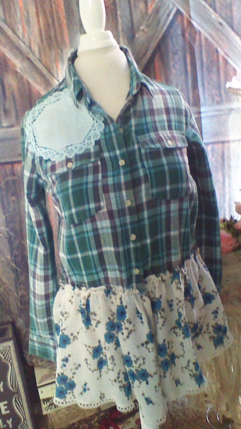 Upcycled Shirt with doily adorned Back Refashioned Chic One of a Kind Size XL