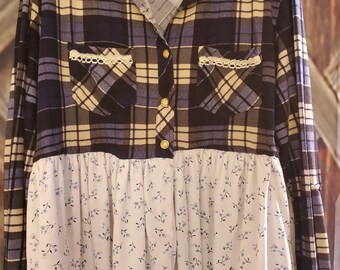 Upcycled Shirt Refashioned Comfy Chic One of a Kind Size XL