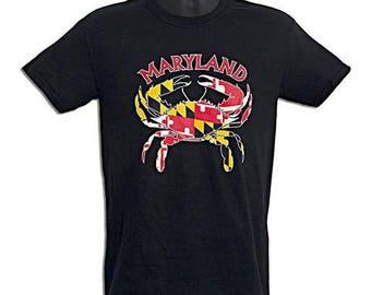 Maryland Flag Crab T-Shirt - Black