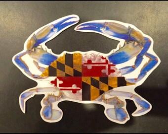 """Maryland Flag BLUE Crab Magnet 6"""""""