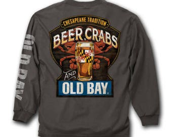Chesapeake Tradition Beer Crabs and Old Bay Long Sleeve Shirt