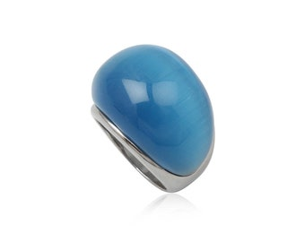 Stainless steel ring sky blue cats eye dome rectangular wide oblong rounded gift idea xmas birthday valentines mothers day