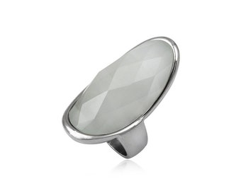 Stainless steel ring white cats eye dome oblong faceted gift idea xmas birthday valentines mothers day