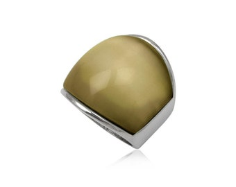 Stainless steel ring green cats eye dome rectangular wide rounded gift idea xmas birthday valentines mothers day