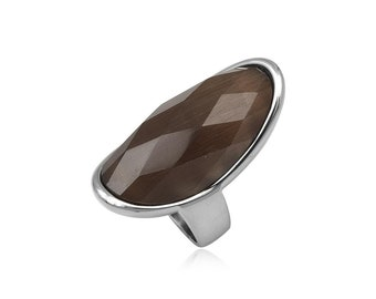 Stainless steel ring brown cats eye dome faceted gift idea xmas birthday valentines mothers day