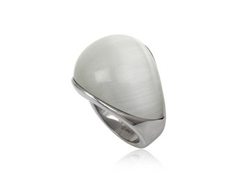 Stainless steel ring white cats eye dome rectangular wide oblong rounded gift idea xmas birthday valentines mothers day