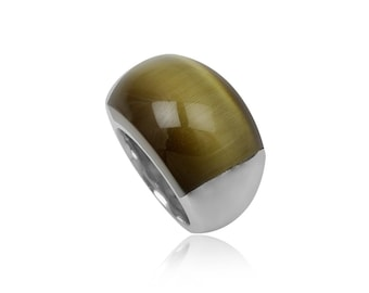 Stainless steel ring green cats eye dome rectangular rounded gift idea xmas birthday valentines mothers day