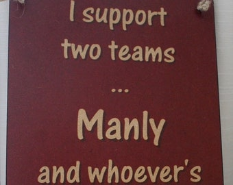 Manly Sea Eagles versus Melbourne Storm Rugby League Footy Football Sign Bar Pub Man Cave