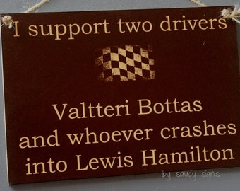 Valtteri Bottas Wrecks Lewis Hamilton Formula One 1 Grand Prix Racing Drivers Sign - Custom Signs Available With Different Drivers - MSG Us