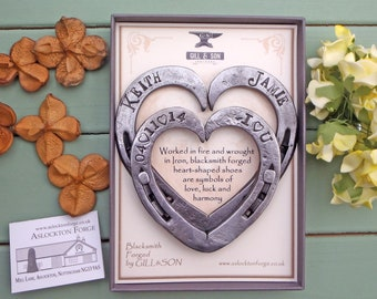 Horseshoe Hearts Keepsakes: Blacksmith made & Personalised with Names, and Dates; iron / steel anniversary gift. presentation gift boxed. 11