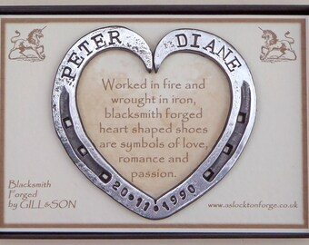 """Horseshoe heart, Personalised, Blacksmith Forged, Iron, Steel, Anniversary Gift, Wedding Gift, Bridal Gift,  Approx 4.25"""", 10.5 cm"""