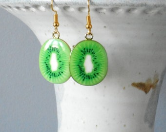 Green Kiwi Plated Enamel Charms...Lot of Five...Kiwi Charms..