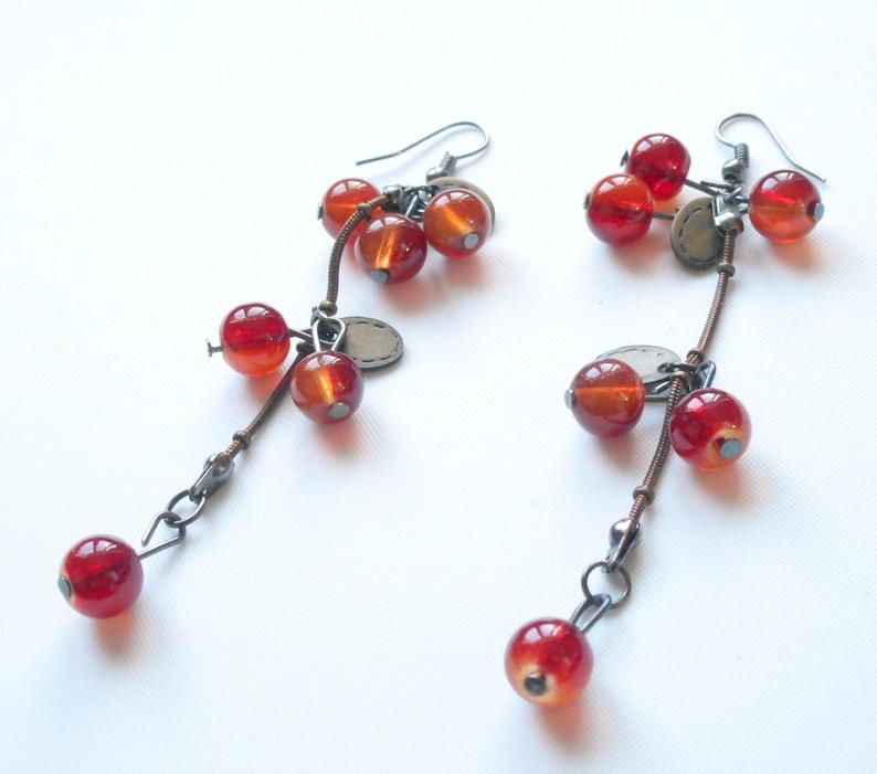 2.75 red Agate gemstone,antique Brass dangling hooks earrings