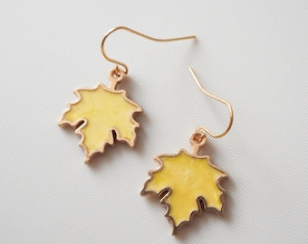 """1"""" Gold tone Enamel yellow maple leaf Charm earrings"""
