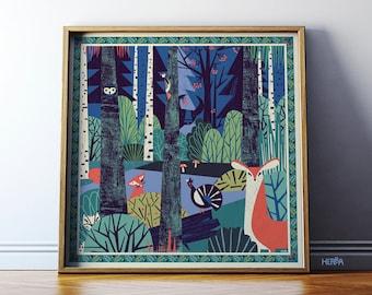 "New edition! Wall art illustration print / Nature illustration art ""In a Forest"" / Forest poster with animals / 50x50 cm / Giclee print"