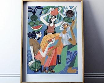 Art print: Girls with watermelons / Fine art giclee print / Illustration print / 50x70, 40x50, 30x40 cm poster / Modern wall art