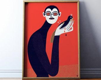 Art print: Vampire / Fine art illustration print / 50x70, 40x50, 30x40 cm / Nosferatu Poster / Vampire art print /  Vampire illustration