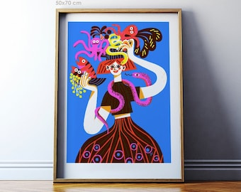 Art print: Sea Market. Fine art giclee print on archival paper. Illustration. 50x70, 40x50, 30x40 cm. Poster. Retro. Still-life.