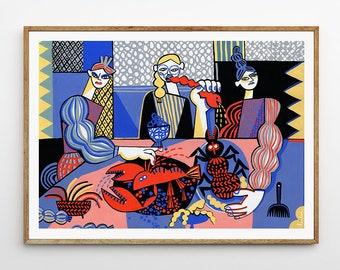 Art print: Late Supper / Fine art print on archival paper / Cubist illustration / 50x70 cm / Still life