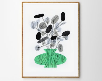 Original painting on paper // Plant 2 // Lunaria Annua // Gouache and ink on paper //Original artwork by Gosia Herba
