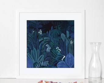 In a Forest dark and deep. High quality giclée print. Illustration painting. 40x40 Poster.Archival paper.