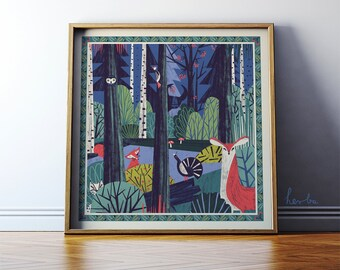 """Wall art giclee print. """"In a Forest"""" nature illustration art. Forest poster with animals. 50x50cm. MUST HAVE 2016"""