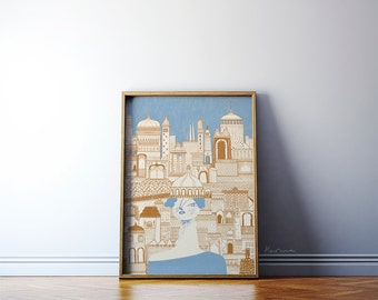 Blue Town / Fairy tale illustration art / Giclée print on archival paper / A2 wall art / Gold blue print