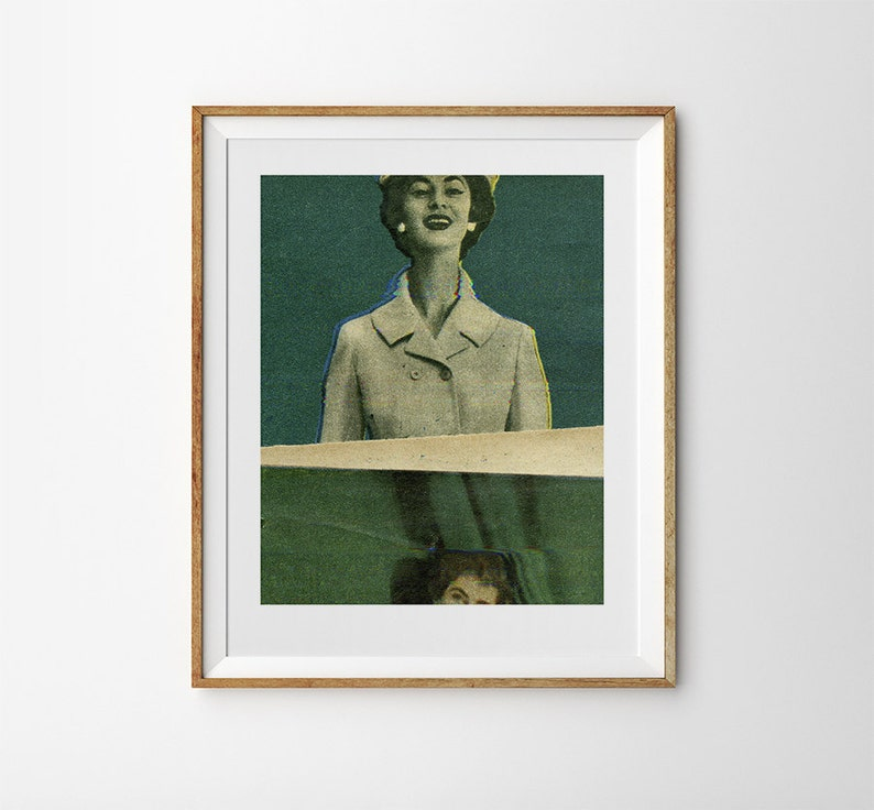 Collage art print / Vintage fashion photography / Glitch art image 0