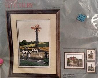 Columbia Minerva Crewel Stitchery 7511 Windmill Meadow Picture designed by Jon Donovan