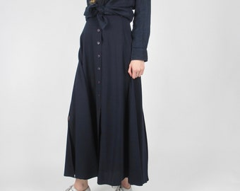 Navy A-line skirt / XS / size 2 / high waisted simple full long skirt ankle-length vintage 90s classic spring summer basic