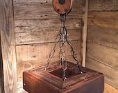 Items Similar To Barn Pulley Chandelier Mason Jar