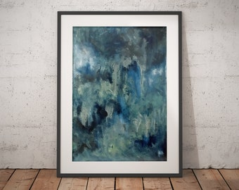 Original artwork painting by ThienArt. Abstract 24x36 on canvas. Blue Oil, acrylic, latex paint. Mixed media. FREE SHIPPING