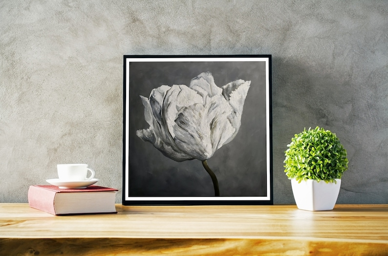 Canvas and paper prints. 12x12 and 20x20. Floral tulip print image 0