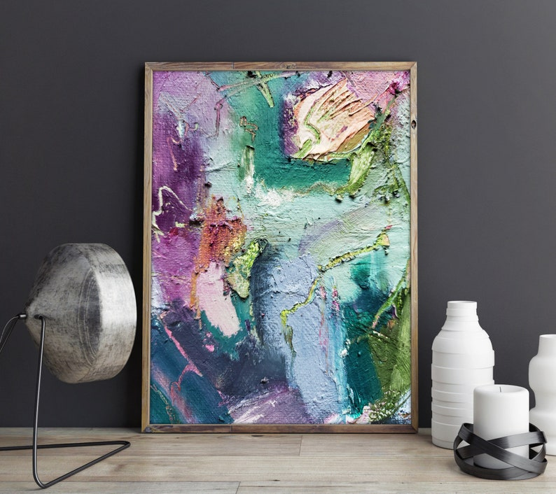 Colorful canvas and paper prints. Abstract expressionism with image 0