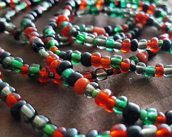 Red, Black, and Green Waistbeads