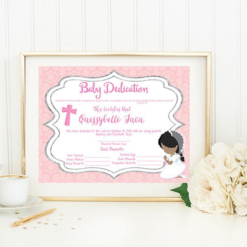 Baby Dedication Certificate Etsy