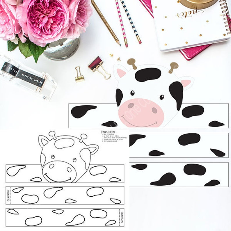 picture about Printable Cow Hat identify Cow Paper Hat Crown / Shade and Colour Your Particular / Printable PDF