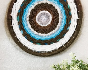 Around and Around We Go Circular Hand Woven Wall Hanging, Wall Decor, Fiber Art, Weaving, Round, Blue Brown White