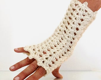 Texting Gloves Cream or Gray Lace Mitts steampunk fingerless winter accessories hand warmers fingerless gloves texting mitts FREE SHIPPING
