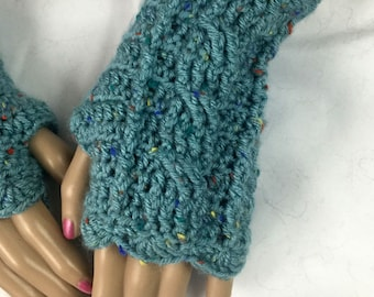 Cozy Fingerless Gloves Cables Aqua Blue Texting Outlander Mitts Handwarmers Hand warmers Texting Mitts Celtic Outlander Gift FREE SHIPPING