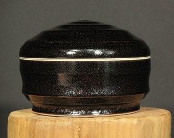 Porcelain Box, Ceramic Box, Thrown Box in Tenmoku Glaze