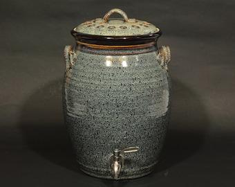 Kombucha Crock, Ceramic Crock, 2 Gallon Crock, 2 Gallon Kombucha Crock With Stainless Steel Spigot In Speckled Hen Glaze