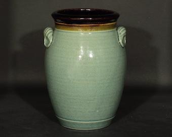 Utensil Holder, Utensil Crock, Pottery Utensil Holder, Ceramic Crock, Ceramic Utensil Holder in Blue Crackle Glaze