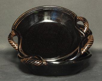 Serving Dish, Handled Bowl, Bowl in Tenmoku Glaze