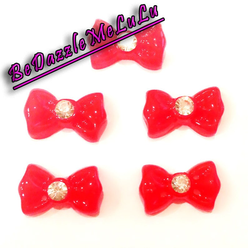5pcs Red Bow Tie Ribbon with Rhinestone Acrylic Flat Back image 0