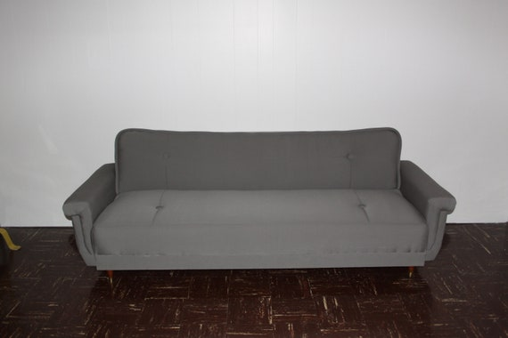 Fabulous Vintage Sofa Bed Newly Re Upholstered In Gray Modern Day Bed Gmtry Best Dining Table And Chair Ideas Images Gmtryco