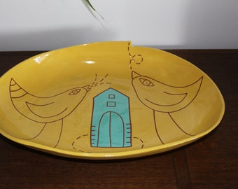 Yellow Ceramic Bowl /Platter with Birds and a Turquoise House