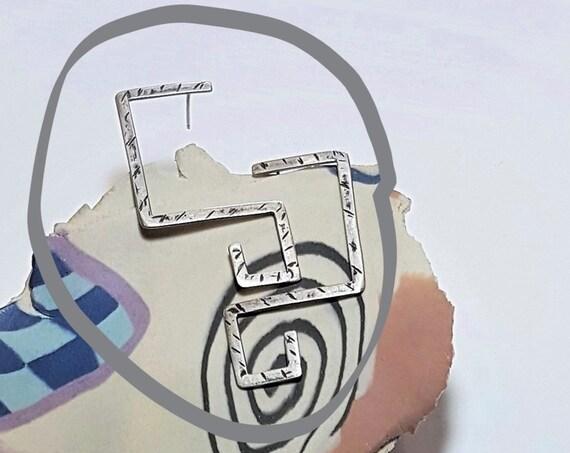 Large Geometric Earrings | Statement Earrings | Sterling Silver, Handmade Earrings