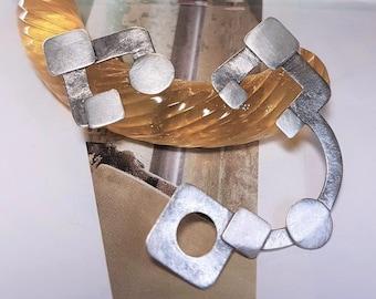 asymmetrical earrings, geometric earrings, statement earrings, sterling silver, one of a kind, large earrings, brushed silver earrings, OOAK