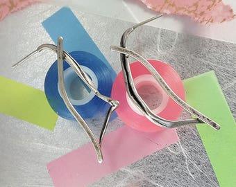 Sculptural Oxidized, Brushed Silver Earrings   Long Silver Stud Earrings   Art Jewelry   One Of A Kind   Sterling Silver Dangle Earrings